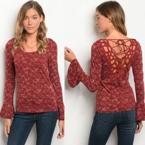 f76025ae8e1ea CROCHET LACE UP BACK BELL SLEEVE BLOUSE in BERRY